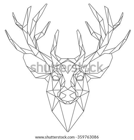 Animal Head Triangular Icon Geometric Trendy Stock Vector