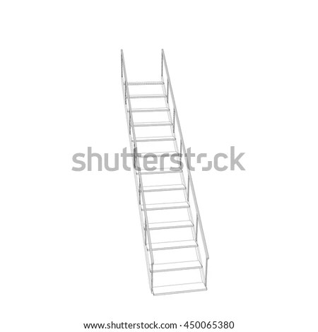 Schematic Simple Railing One Point Perspective Stock