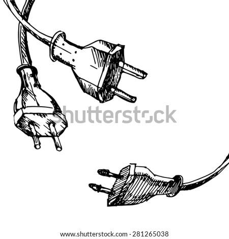 Graphic Set Scuba Divers Drawn Line Stock Vector 375815806