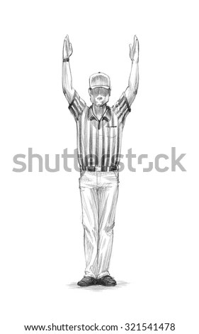 Football Referee Signaling Touchdown Stock Photos, Images