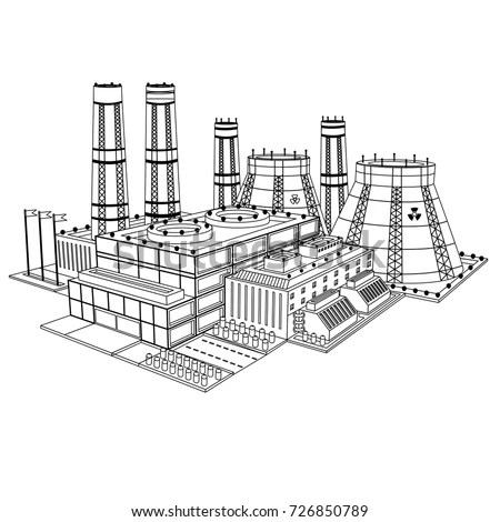 Sketch Realistic Nuclear Power Plant Isolated Stock Vector