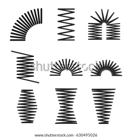 Set Metal Springs Spiral Flexible Wire Stock Vector