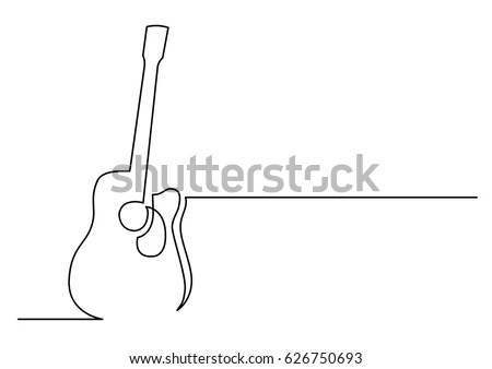 Continuous Line Drawing Acoustic Guitar Stock Vector
