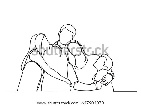 Happy Family Stylized Vector Symbol Young Stock Vector