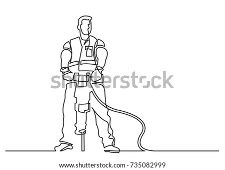 Continuous Line Drawing Construction Worker Jackhammer