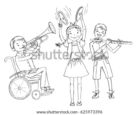 Group Kids Include Boy Wheelchair Playing Stock Vector