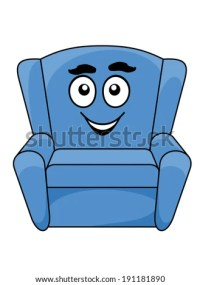 Comfortable upholstered blue armchair with a happy smiling ...