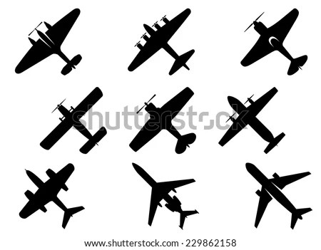 Black Vector Aircraft Silhouette Icons Showing Stock