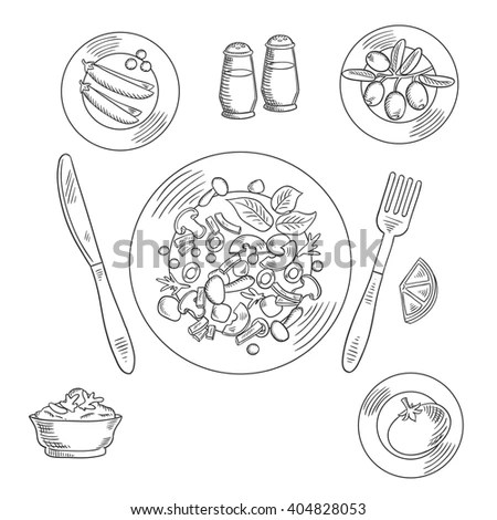 Salad Bowl Sketch Stock Images, Royalty-Free Images