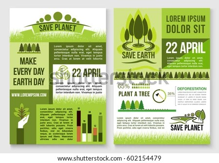 Save Earth Planet Nature Concept Design Stock Vector