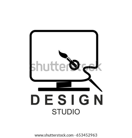 Design Studio Icon Template Computer Monitor Stock Vector