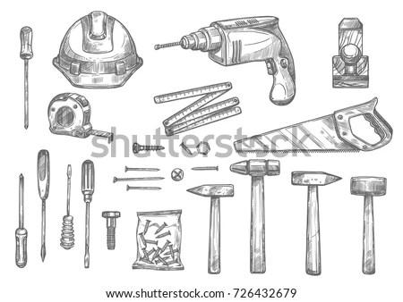 Repair Carpentry Woodwork Work Tools Sketch เวกเตอร์สต็อก