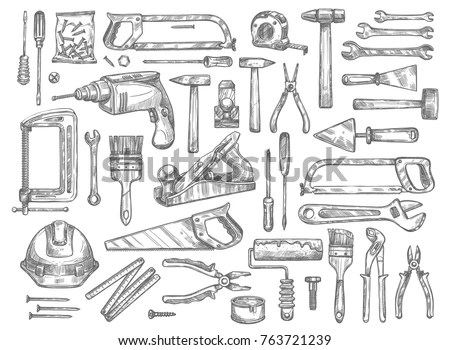 House Repair Work Tools Sketch Icons Stock Vector