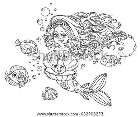 Mermaid Outline Mermaid Stock Images, Royalty-Free Images