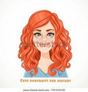 cute curly redhaired young woman