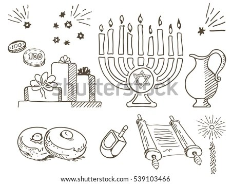 Hanukkah Chanukah Traditional Jewish Holiday Doodle Stock