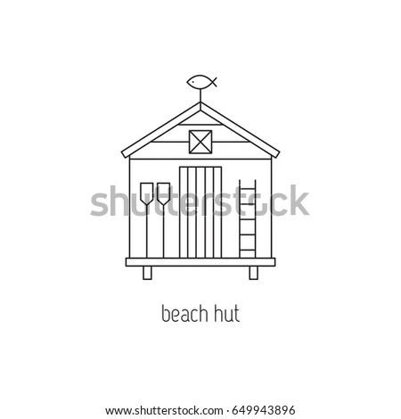 Beach Hut Vector Thin Line Icon Stock Vector 649943896