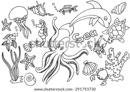 Drawing Of Sea Creatures Stock Images, Royalty-Free Images