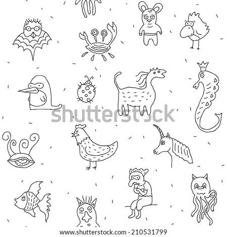 Crazy Weird Animals Drawings Seamless Vector Stock Vector