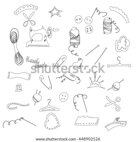 Set Line Sewing Icons Icons Thin Stock Vector 448902526