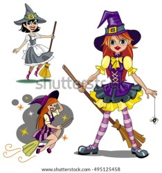 cartoon witch witches wizard vector clip halloween boy isolated three raster dressed magic shutterstock familiar concept staff