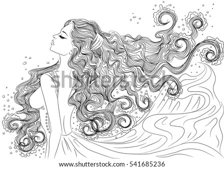 Line Art Vector Illustration Beautiful Young Stock Vector