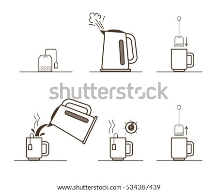 Tea Bag Brewing Cooking Directions Steps Stock Vector