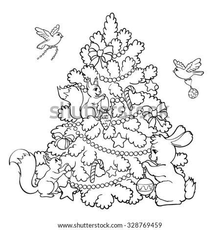 Coloring Book Page Rabbit Squirrels Birds Stock Vector