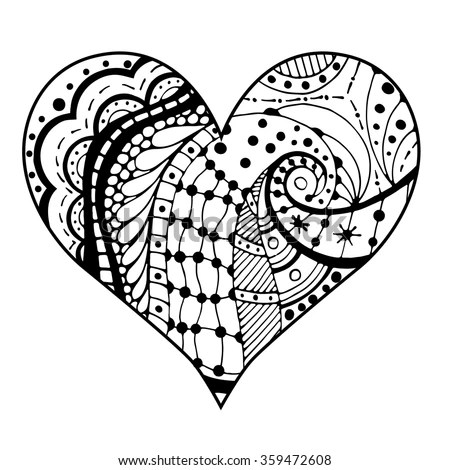 Intricate Pen Ink Drawing Heart Stock Illustration