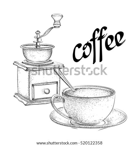Coffee Processing Illustration Hand Drawn Style Stock