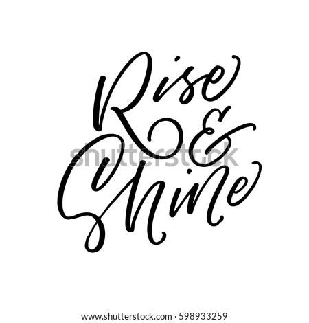 Rise Shine Postcard Ink Illustration Modern Stock Vector