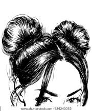 hair bun stock royalty-free