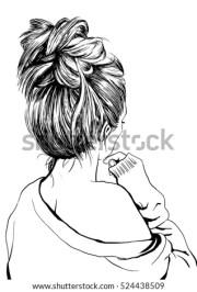 girl messy bun stock vector 524438509