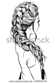 woman braid hairstyle stock