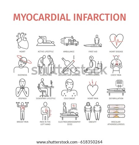 Heart Attack Symptoms Treatment Line Icons Stock Vector