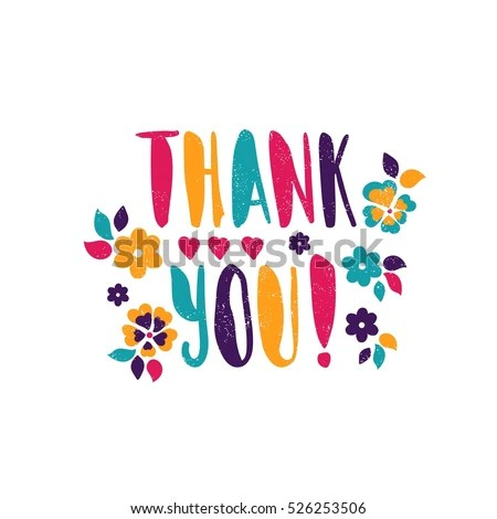 Thank You Bright Juicy Lettering Spring Stock Vector