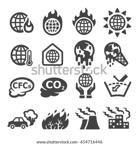 Global Warminggreenhouse Effect Icon 스톡 벡터 654716446