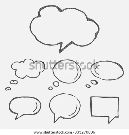 Hand Drawn Thought Speech Bubbles Balloons Stock
