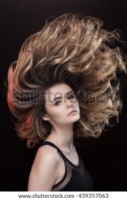 wind blown hair stock royalty-free