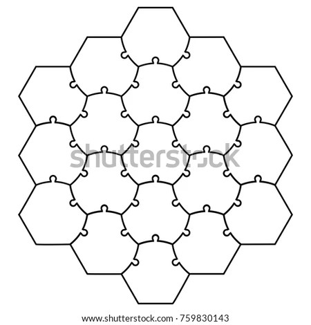 Hexagonal Jigsaw Puzzle Template Puzzle Vector Stock