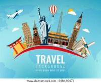 Travel Composition Famous World Landmarks Travel Stock ...