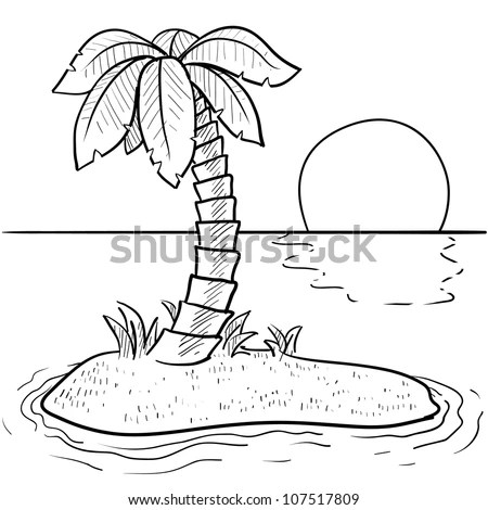 Doodle Style Tropical Deserted Island Palm Stock Vector