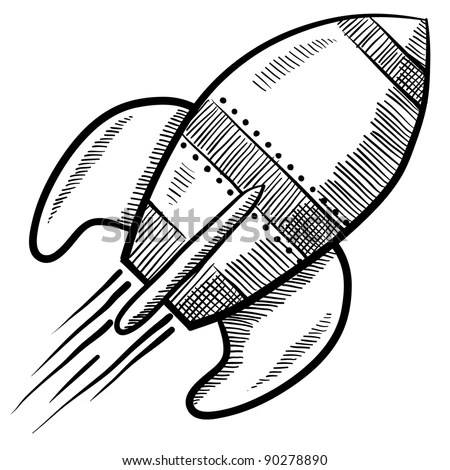 Doodle style retro rocket or spaceship vector illustration