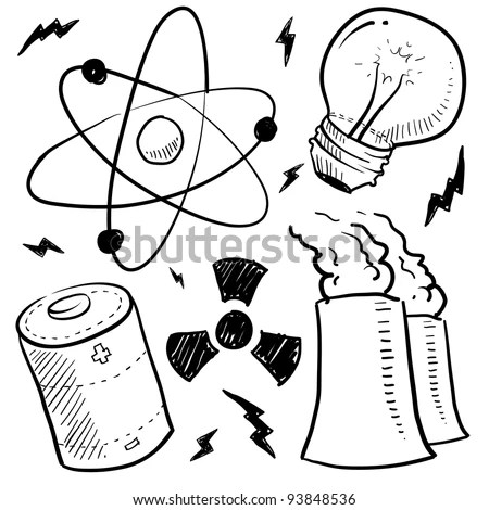 Doodle Style Nuclear Energy Power Sketch Stock Vector