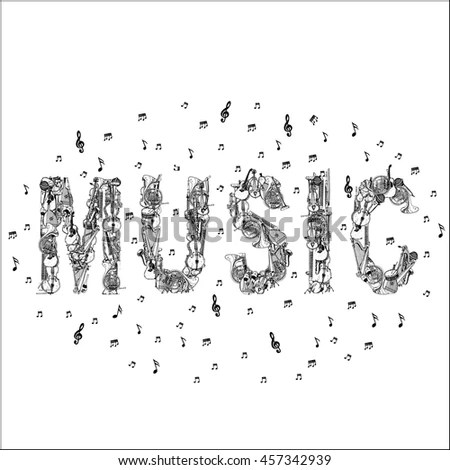 Music Lettering Music Instruments Notes Stock Vector