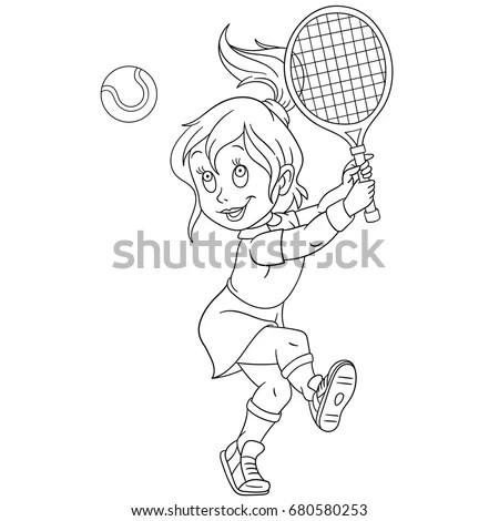 Coloring Page Girl Playing Tennis Colouring Stock Vector
