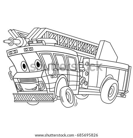 Coloring Page Cartoon Fire Truck Emergency Stock Vector