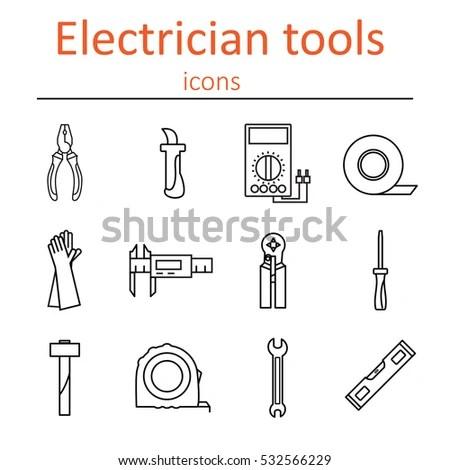 Icon Set Tools Electrician Vector Illustration Stock