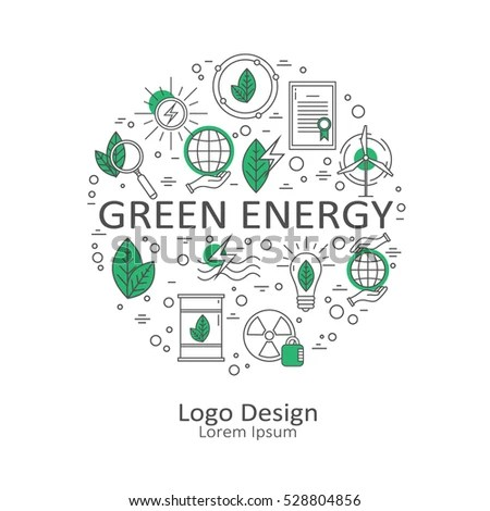 Big Set Symbols Alternative Energy Renewable Stock Vector