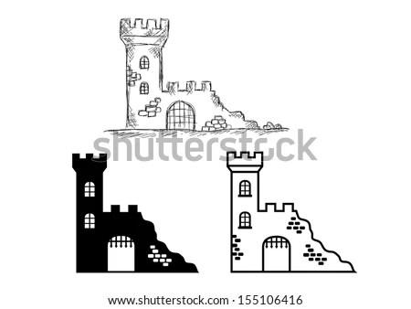 Castle Ruins Stock Vector (Royalty Free) 155106416